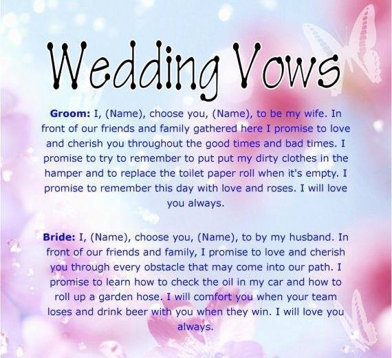 Celebrity Wedding Vows Examples: WEDDING VOWS GROOM: I, (NAME), CHOOSE YOU, (NAME), TO BE